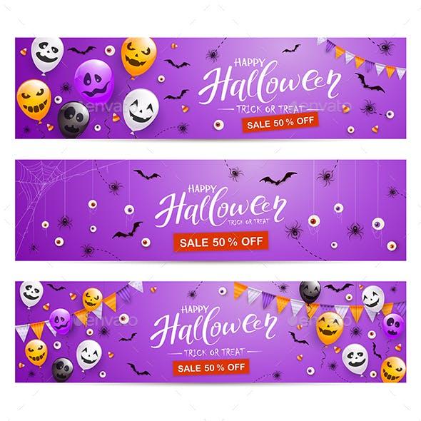 Set of Purple Halloween Banner