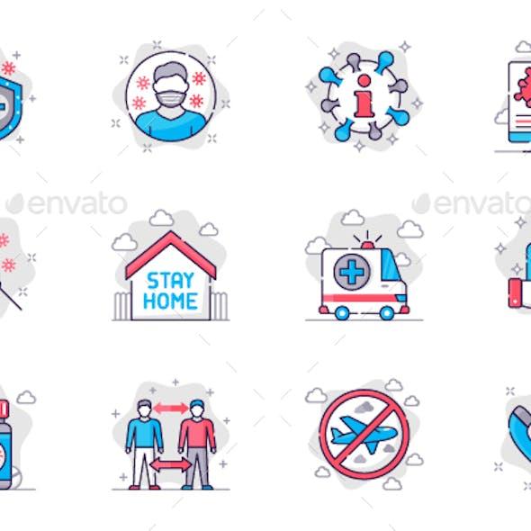 Coronavirus Prevention Line Icons Set