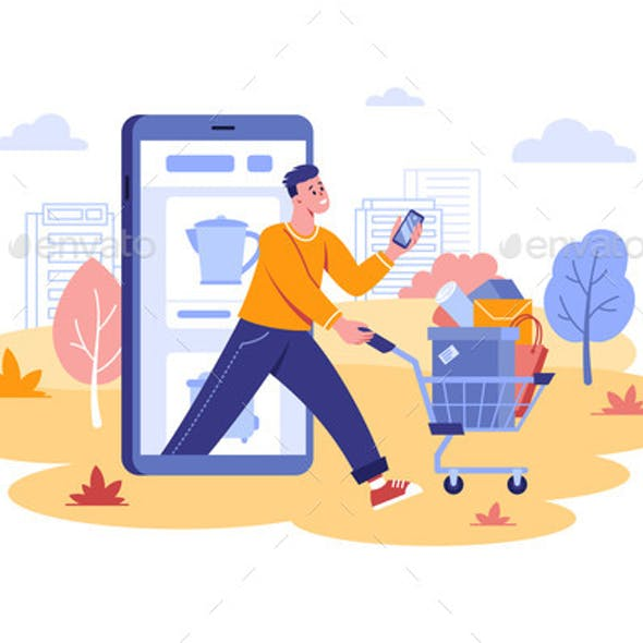Guy Done Remote Mobile Shopping