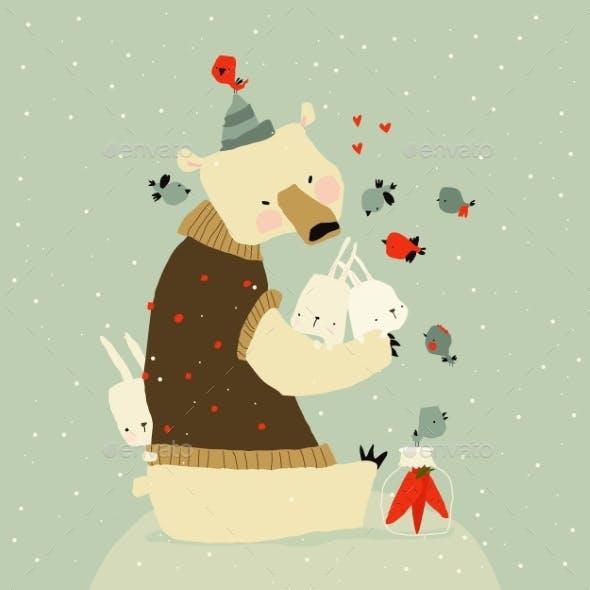 Cute Cartoon Polar Bear Hugging Rabbits