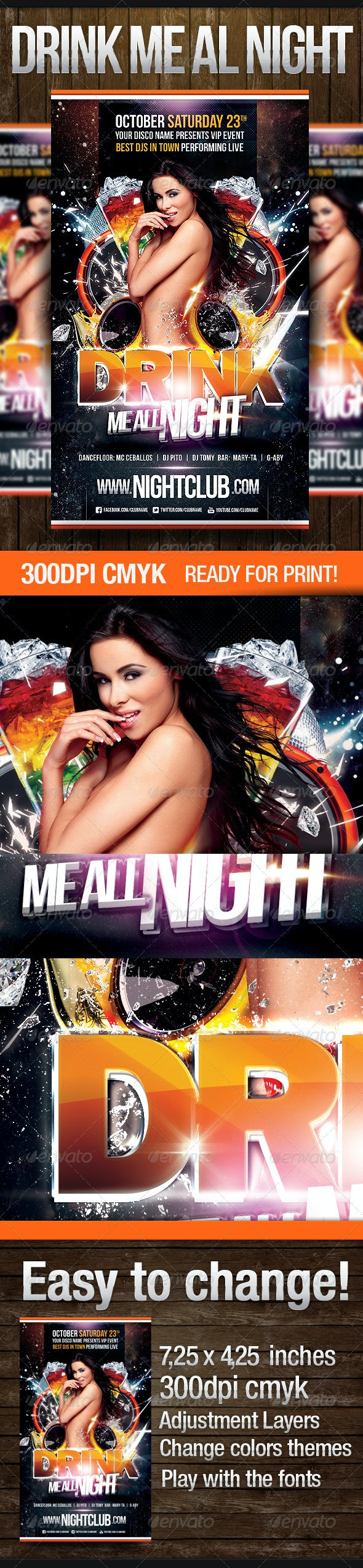 Drink Me All Night Party Flyer - Clubs & Parties Events