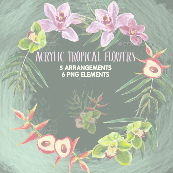 Acrylic tropical flowers