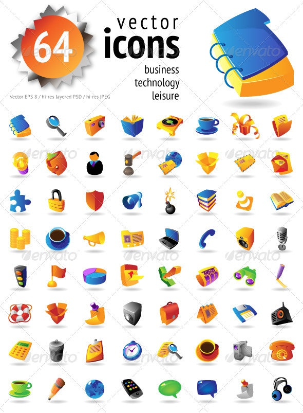 Set Of 64 Vector Icons - Web Icons