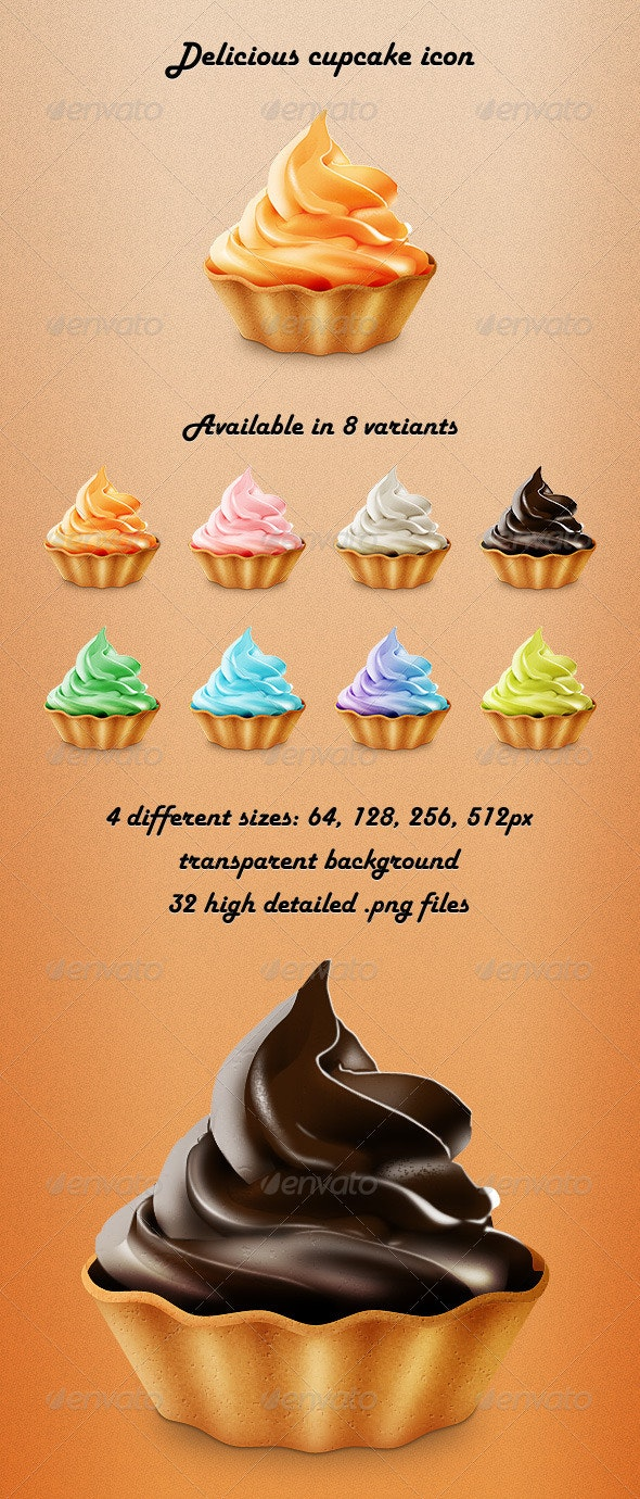Delicious Cupcake Icon - Food Objects
