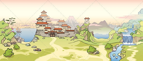 Old Japanese Castle - Buildings Objects