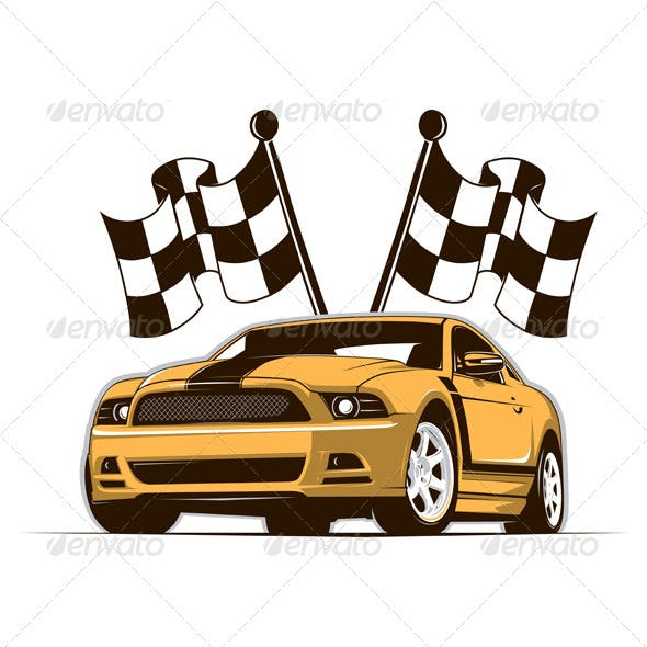 Race Car And Flags