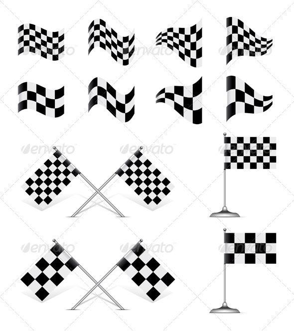 Vector Checkered Flags Set. - Sports/Activity Conceptual