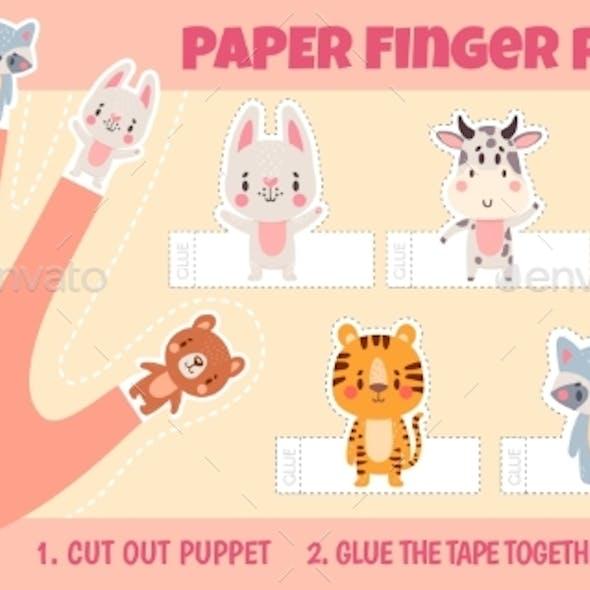 Paper Animal Finger Puppets Worksheets for Kids