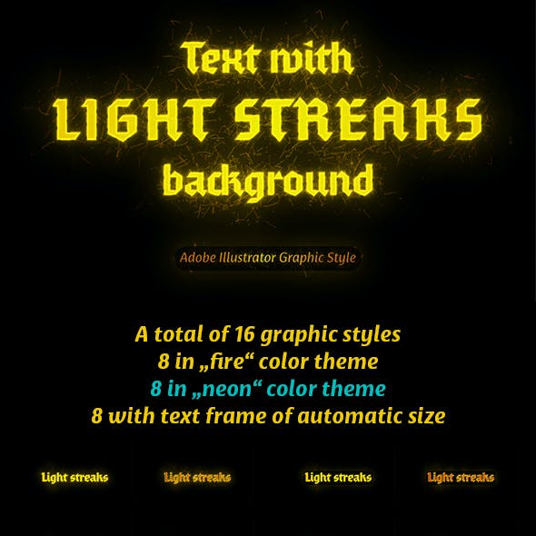 Text with Light Streaks background