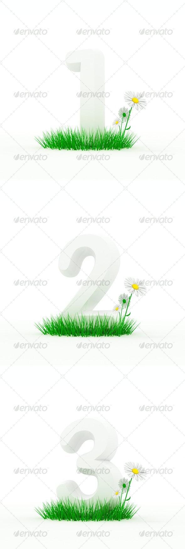 Set Huge Digit on a Grass - 3D Backgrounds