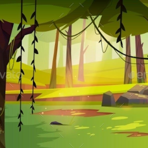 Cartoon Forest Background Nature Summer Landscape