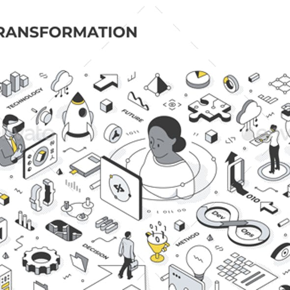 Digital Transformation Isometric Illustration