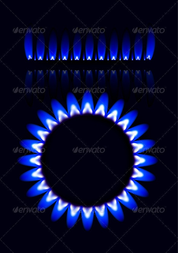 Natural Gas Flame Vector Set - Abstract Conceptual