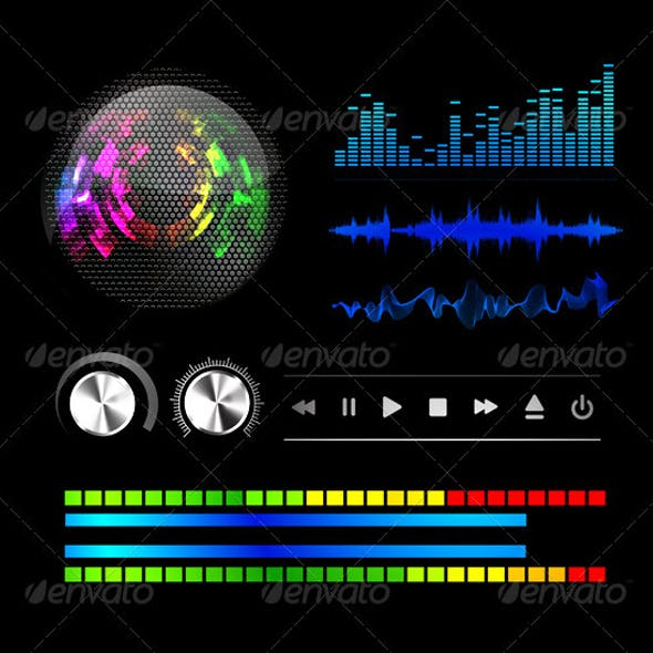 Sound Waves Set Music. Vector Illustration