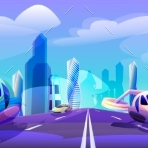 Futuristic City with Flying Cars Drive Road