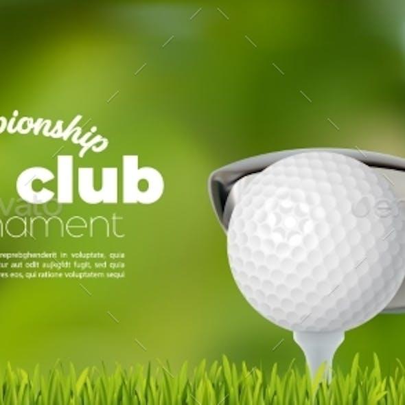 Golf Club Ball on Grass Field Sport Tournament