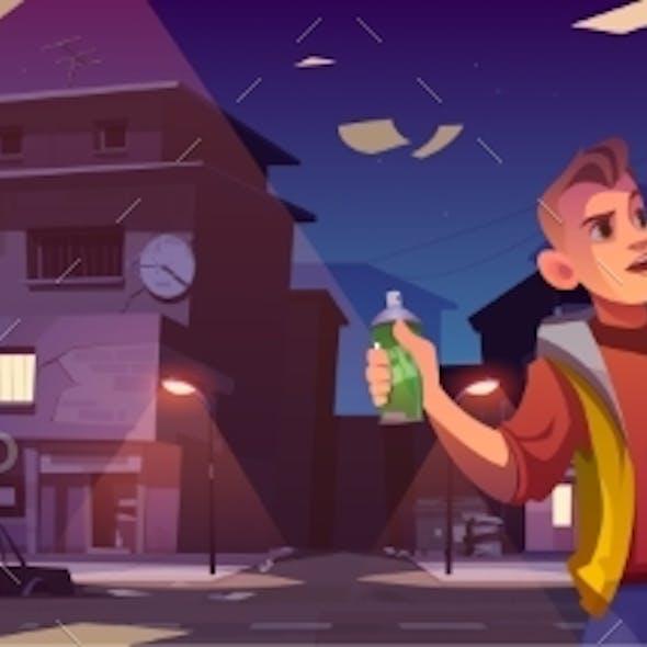 Graffiti Painter in Night Ghetto Cartoon Banner