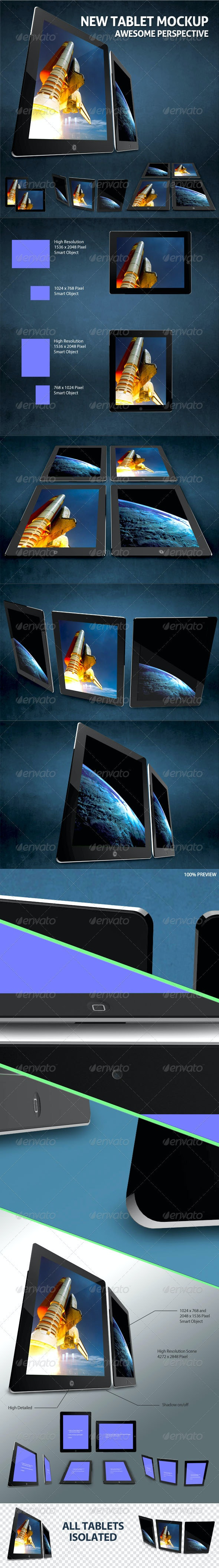 Photorealistic New Tablet Mock-ups - Mobile Displays
