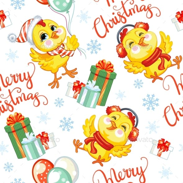 Vector Seamless Pattern with Christmas Chickens