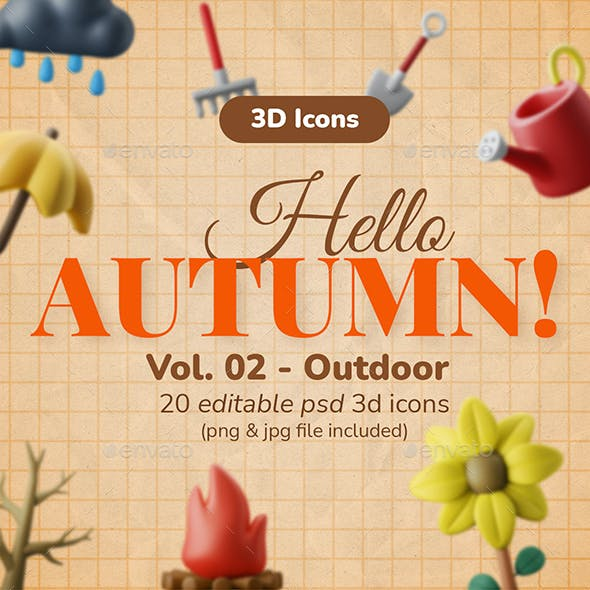 3D Icon Pack - Autumn Vol. 02 - Outdoor Activities
