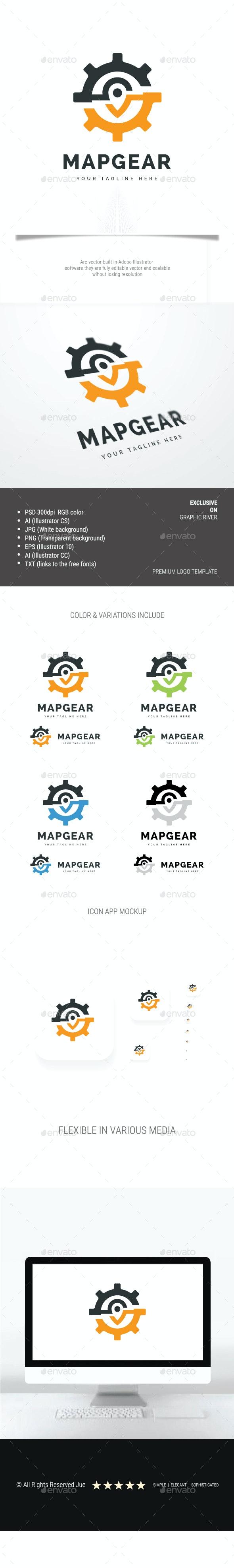 Map Gear Logo - 3d Abstract