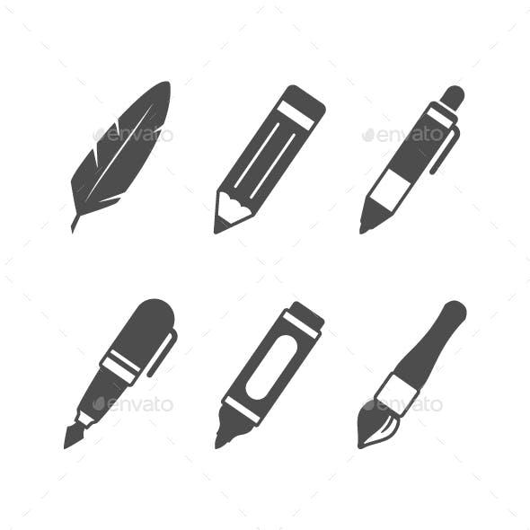 Set Glyph Icons of Writing Utensils