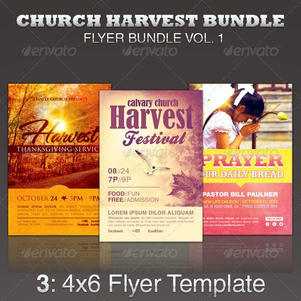 Church Harvest Flyer Template Bundle
