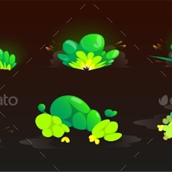 Green Burst Sprites for Game or Animation