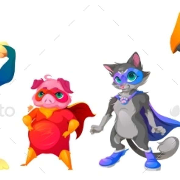 Superhero Animals with Mask and Cape