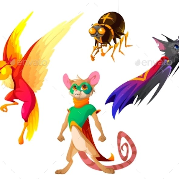 Superhero Animals with Cape and Mask