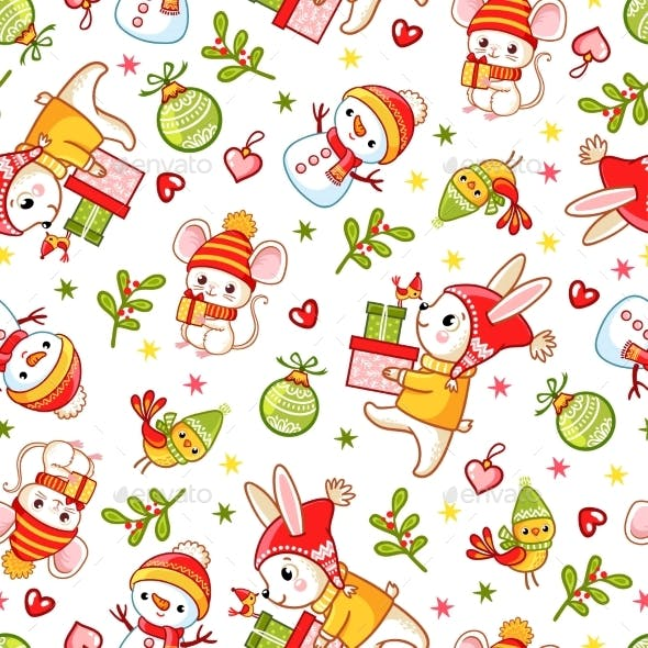 Vector Seamless Pattern on a Christmas Theme