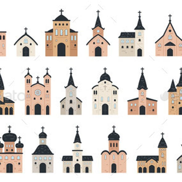 Big Set of Church Icon