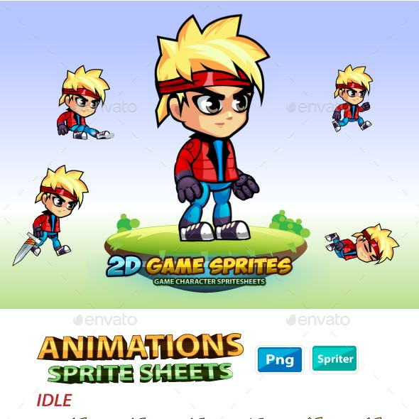 Adon 2D Game Character Sprites