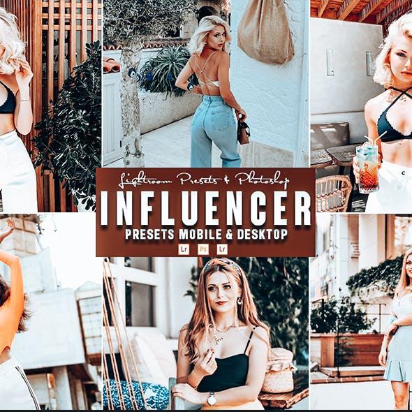 Influencer Photoshop Action & Lightrom Presets