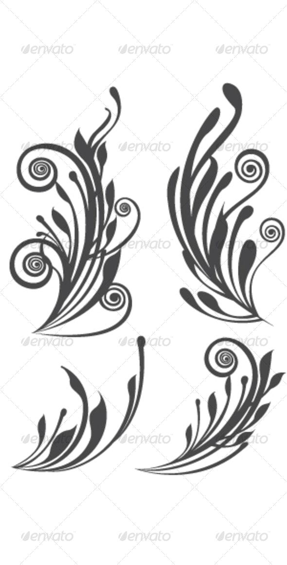 Beautiful floral design elements - Decorative Vectors