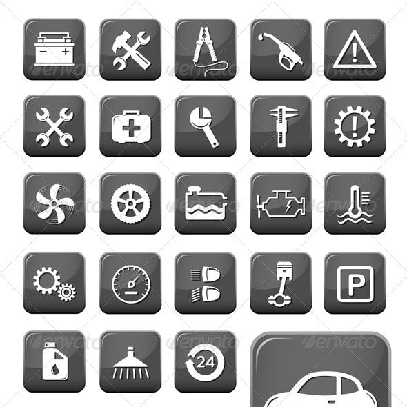 Auto Mechanic And Service Web Buttons