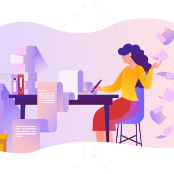 Woman Busy with Work