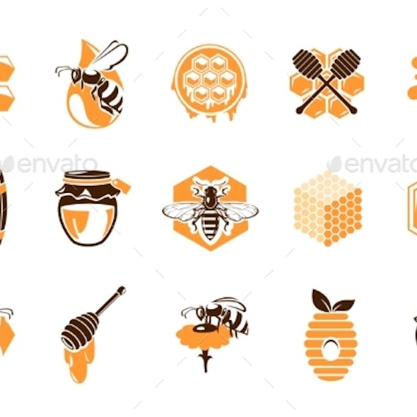 Beekeeping Apiary Icons Isolated Vector Emblems