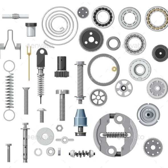 Isolated Bolt Screw Nut and Washer Spring Gear