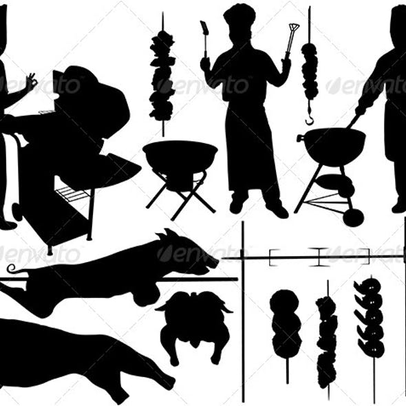 BBQ (barbecue) related objects silhouettes