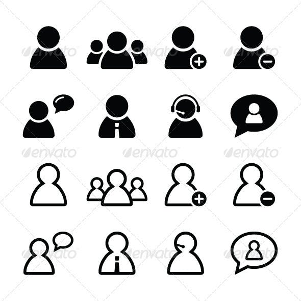 User black icons set - businessman, customers