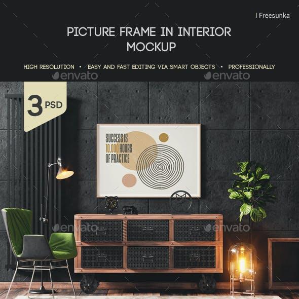 Picture Frame In Interior Mockup
