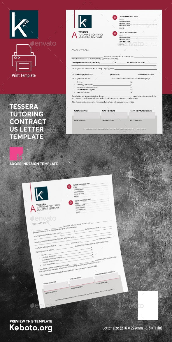 Tessera Tutoring Contract US Letter Template - Miscellaneous Print Templates