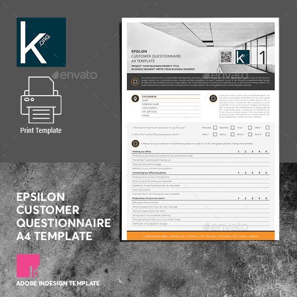 Epsilon Customer Questionnaire A4 Template