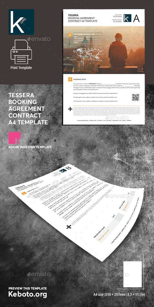 Tessera Booking Agreement Contract A4 Template - Miscellaneous Print Templates