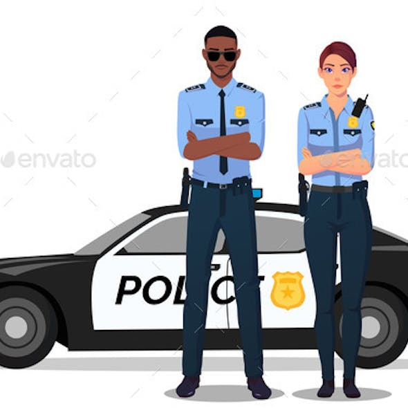 Male and Female Cop Standing Next to Police Car