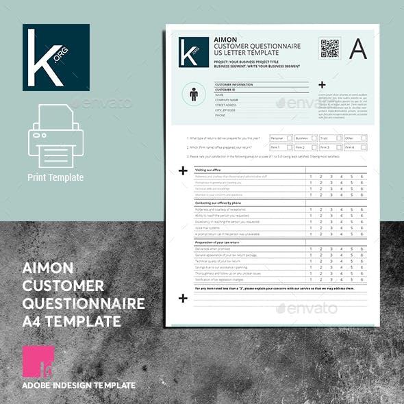 Aimon Customer Questionnaire A4 Template
