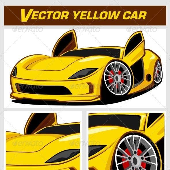 Vector Yellow Sport Car