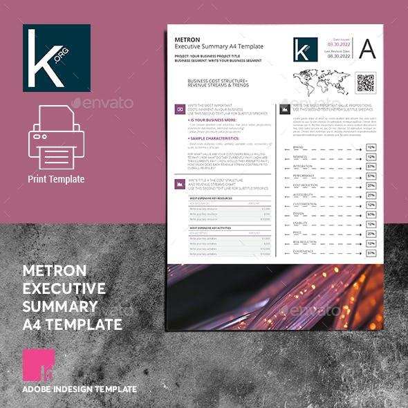 Metron Executive Summary A4 Template