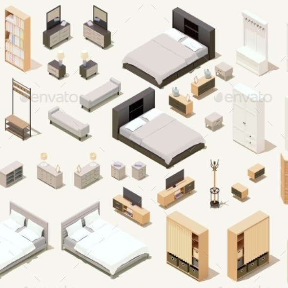 Vector Isometric Home Furniture and Equipment Set